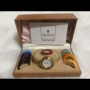 GUCCI VNTG Ladies Dress Bezel Bangle Watch 1100L